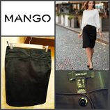 шикарная черная атласная юбка-карандаш от Mango, оригинал