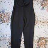 Стильный брючный комбинезон без бретелей/заауженные брюки/с бантом/ромпер