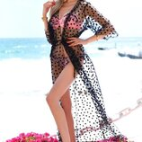 Длинная женская пляжная туника до больших размеров 9321 Сетка Макси Горошек Флок в расцветках