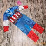 Новогодний костюм Капитан Америка для мальчика 6-7 лет, 116-122 см