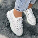кроссовки белые нат кожа