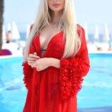Женская короткая пляжная туника 9300 Шифон Мини Рукава Рюши в расцветках