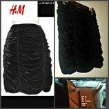 короткая узкая драпированая бархатная юбка от H&M