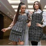 Стильный платье-сарафан твид 1111