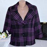 Брендовое черно-фиолетовое демисезонное пальто полупальто в клетку simon jeffery шерсть