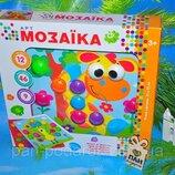 Детская мозаика для самых маленьких Пуговицы, контейнер, крупные детали, 12 вкладышей, 46 элементов