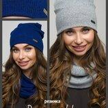резинка. Комплект шапка и хомут, Женские осенне-зимние комплекты, набор молодежный
