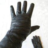 Черные кожаные перчатки женские на подкладке р.8