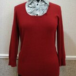 Элегантный джемпер с блузкой-обманкой
