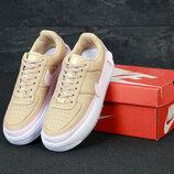 Женские кроссовки Nike Air Force. Beige White.