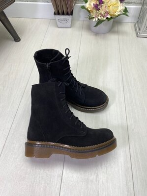 Демисезонные ботинки на байке, натуральный нубук, замш, кожа,36-41