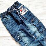 стильные джинсовые синие джоггеры для мальчика 116- 164 Венгрия