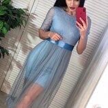 Платье, фатин, декор кружево, подкладка трикотаж размер С и М, голубое и бежевое
