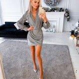 Нарядное платье, блестящий трикотаж
