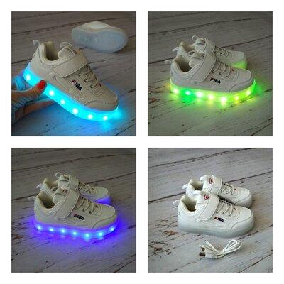 Кроссовки белые унисекс с LED подстветкой Bessky 26-37р.