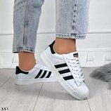 Женские белые кожаные кроссовки Adidas Superstar
