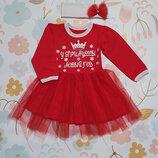 Новогоднее платье с начёсом и фатином плюс повязка Красное Рост 80-110 см