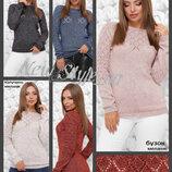 44-50, Жіночий светр, ажурний. Вязаный женский меланжевый свитер. Джемпер ажурный
