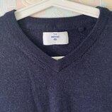 Базовый синий джемпер шерсть мериноса C&A L
