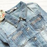 стильная голубая джинсовая куртка 8-16