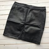 Кожаная юбка мини H&M размер М