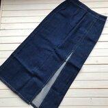 Шикарная джинсовая юбка миди с боковым разрезом размер М