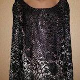 Женская черная кофта, блузка, джемпер с набивным велюровым рисунком 22 р. Marks & Spenser