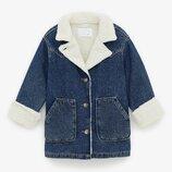 Подростковая джинсовая куртка с мехом для девочки ZARA Испания Размер 152