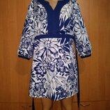 Красивое льняное платье туника, лен и хлопок, Пог 54 см