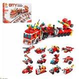 Конструктор 633009. Конструктор пожарная машина. Конструктор аналог Лего Сити.