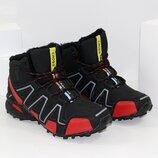 Зимние мужские высокие кроссовки ботинки черные с красным