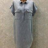 Платье рубашка оверсайз котон лен zara