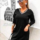 Платье-Туника женское очень изящное люрекс прямое 40-60 размер