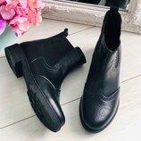 Крутые кожаные ботиночки челси зимние и деми
