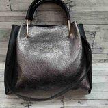 Женская сумка шоппер Майкл Корс серебро