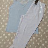 Нежная женская пижама домашний костюм с кружевом Esmara Германия, футболка штаны капри