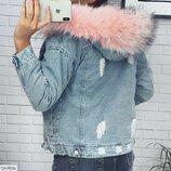 Куртка Ткань джинс на меху Цвет белый, розовый Фабричный китай