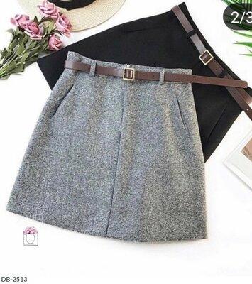 Юбка Твидовая юбка Ткань полушерсть Цвет, коричневый, серый, черный.