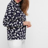 Блузка рубашка женская коттон котики синий