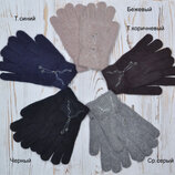 Мягкие Ангоровые перчатки для женщин и девушек Бусинка Длина 20-21 см