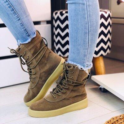 Полная Распродажа Женские высокие бежевые замшевые ботинки на шнурках