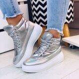 Женские высокие ботинки серебро демисезонные