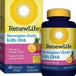 Renew Life Норвежское золото Дгк для детей фруктовый вкус Norwegian Gold Kids Fish DHA Omega-3 Suppl