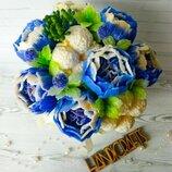 Букет синих пионов из мыла ручной работы Подарочный букет