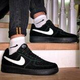 Кроссовки зимние Nike Air Force Black Fur мех