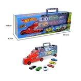 Фура, автовоз, трейлер Hot Wheels SC92-3, грузовик с инерционными машинками 6 шт, игровой набор, Хот