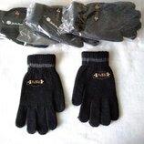 Теплые вязаные черные и серые перчатки 50% шерсть, 50% акрил