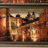 Картины из янтаря, картина з бурштину ,,Киев вечерний ,подарок