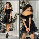 Нарядное пышное Платье свободного кроя с сеткой