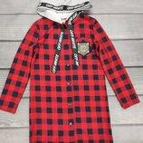 Рубашка туніка в клітку для дівчат підлітків р.134-152см